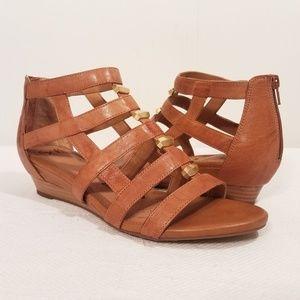Söfft Rio Luggage Leather Wedge Sandals